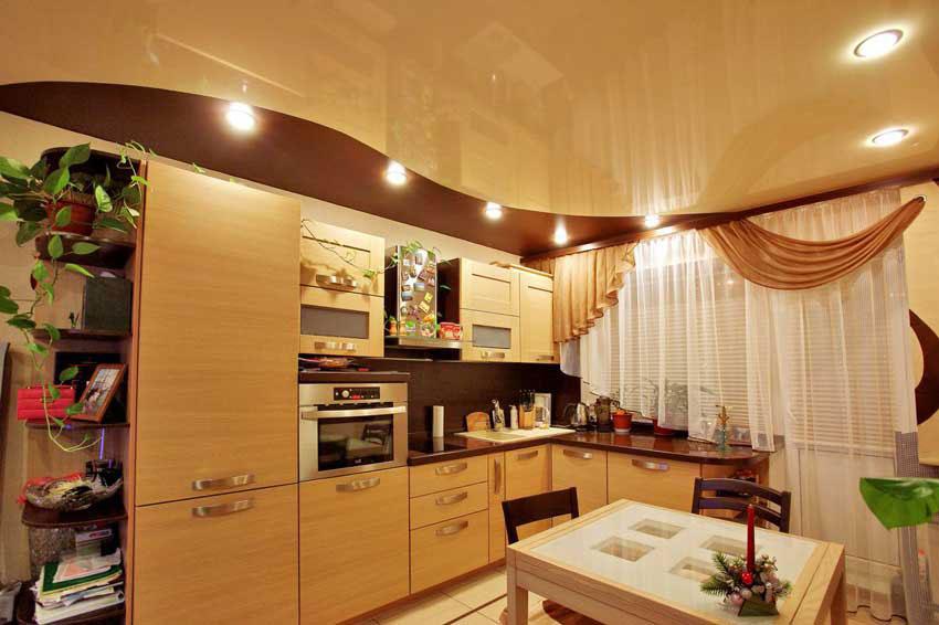 Дизайн стен и потолка для кухни
