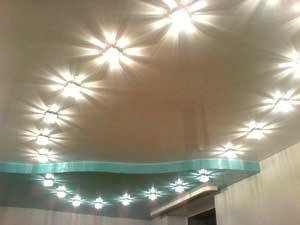 Натяжной потолок с точечными светильниками