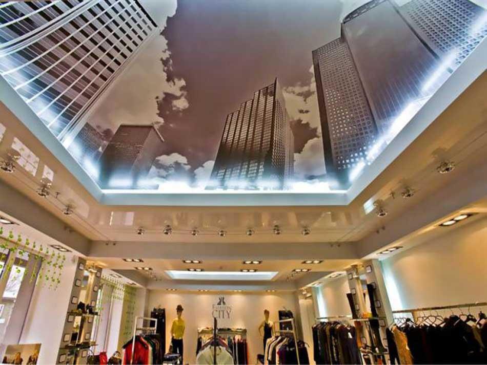 Потолок с изображением города