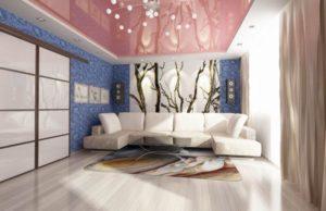 Натяжные потолки для зала — фото интерьеров