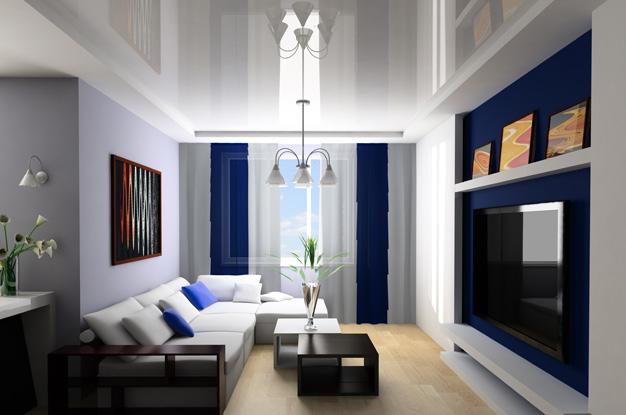 натяжной потолок со шторами