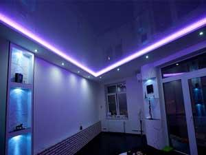 Натяжной потолок с светодиодной подсветкой