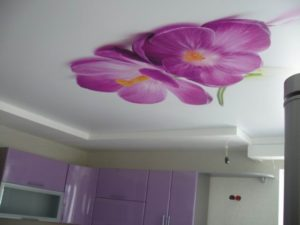 натяжные потолки с фотопечатью на кухне