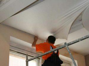 монтаж натяжного потолка без газа
