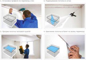 как делают натяжной потолок